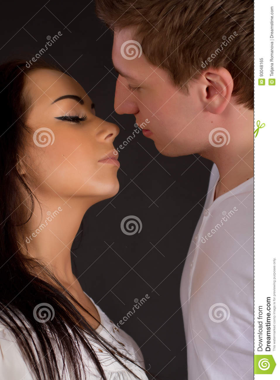 Close up of Young Couple in love kissing