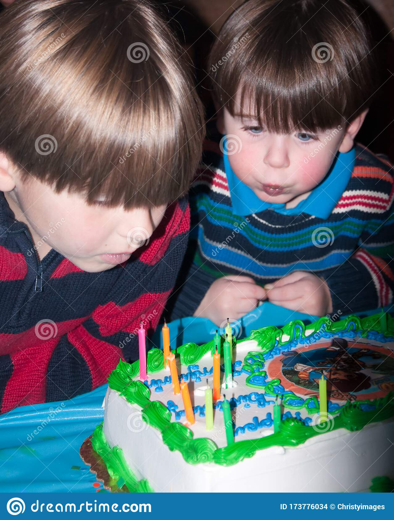Terrific Close Up Of Two Little Boys Blowing Candles Out From A Birthday Funny Birthday Cards Online Unhofree Goldxyz
