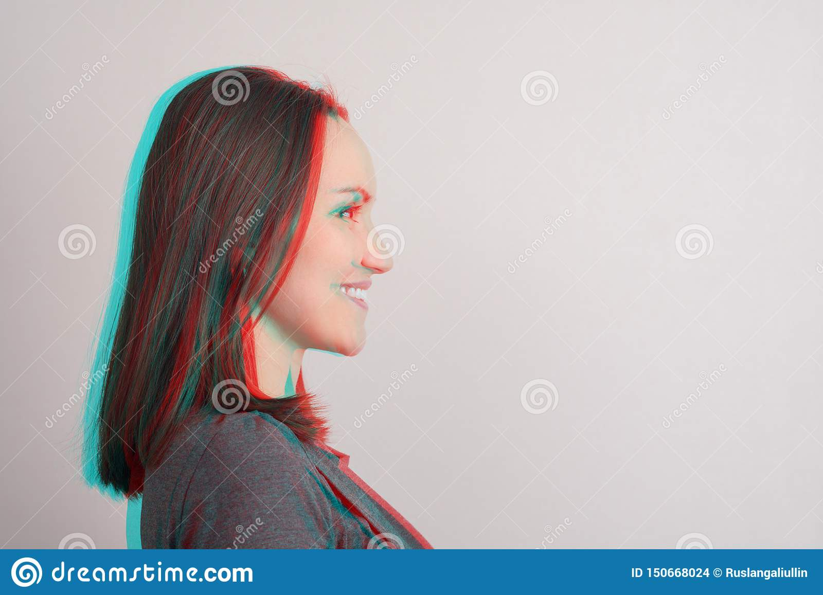 Close-up of young girl in profile,anaglyph effect, glitch