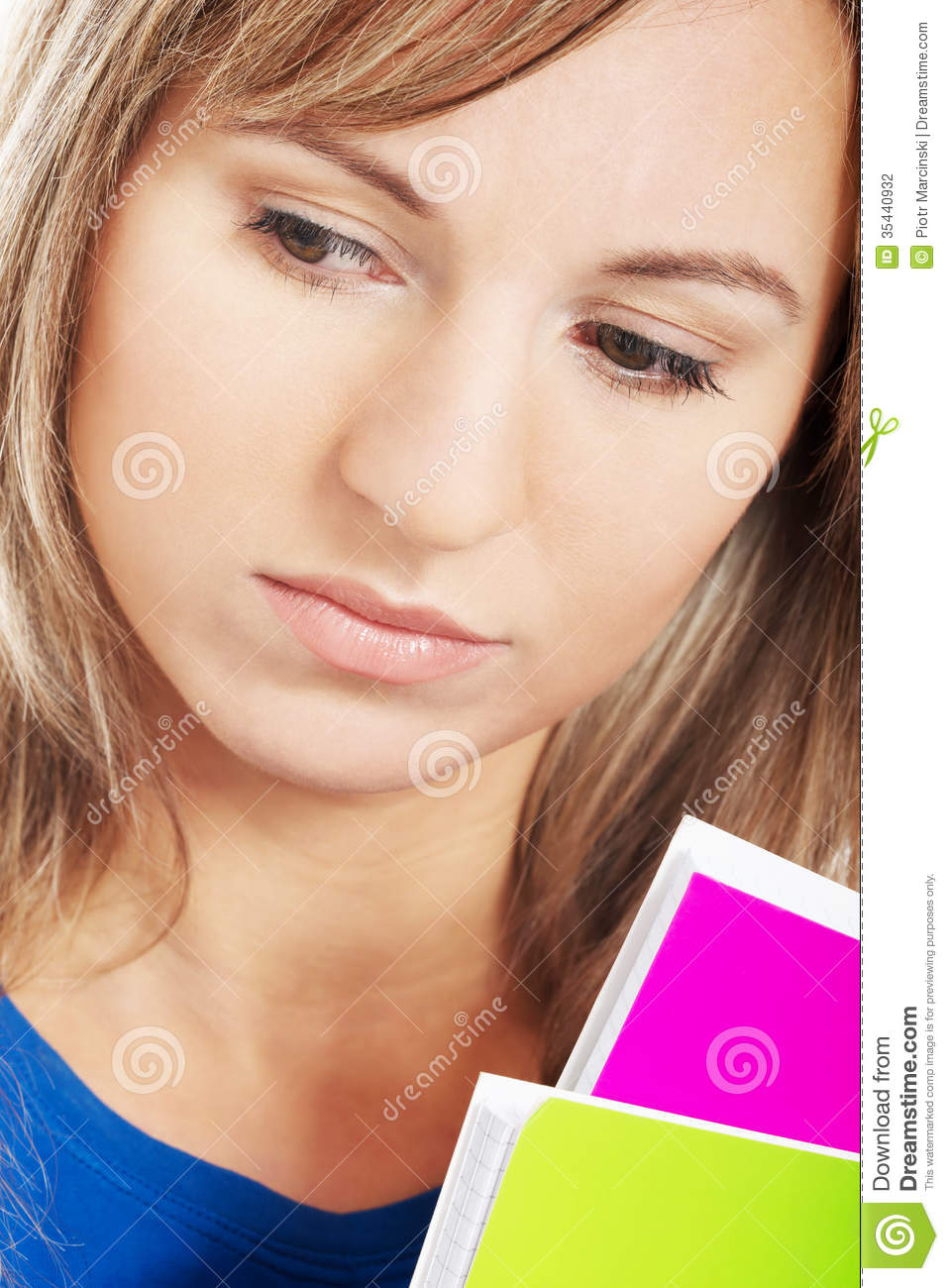 Close Up On Young Sad Student. Stock Photo - Image: 35440932