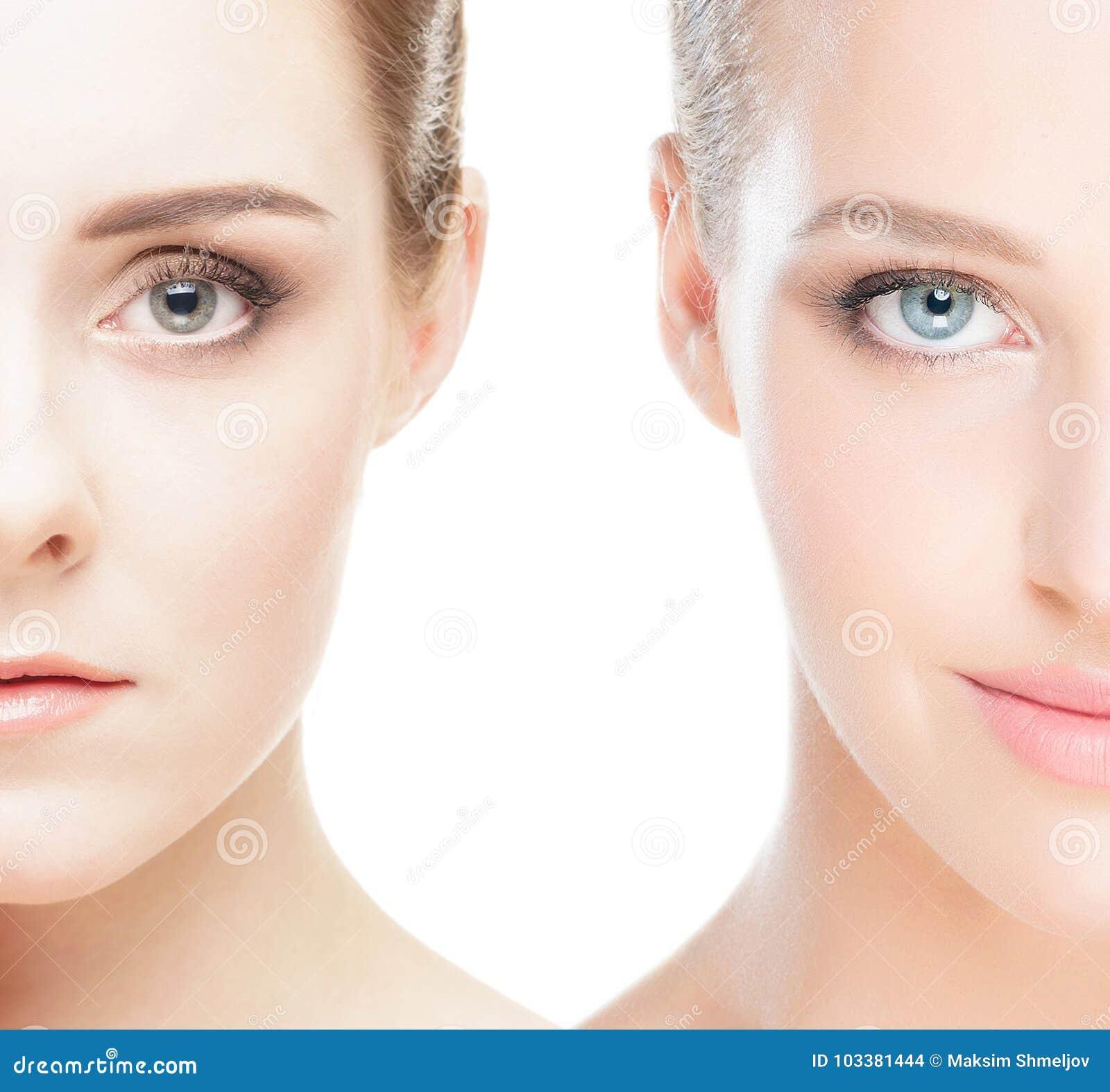 Close-upcollage van twee vrouwelijke portretten
