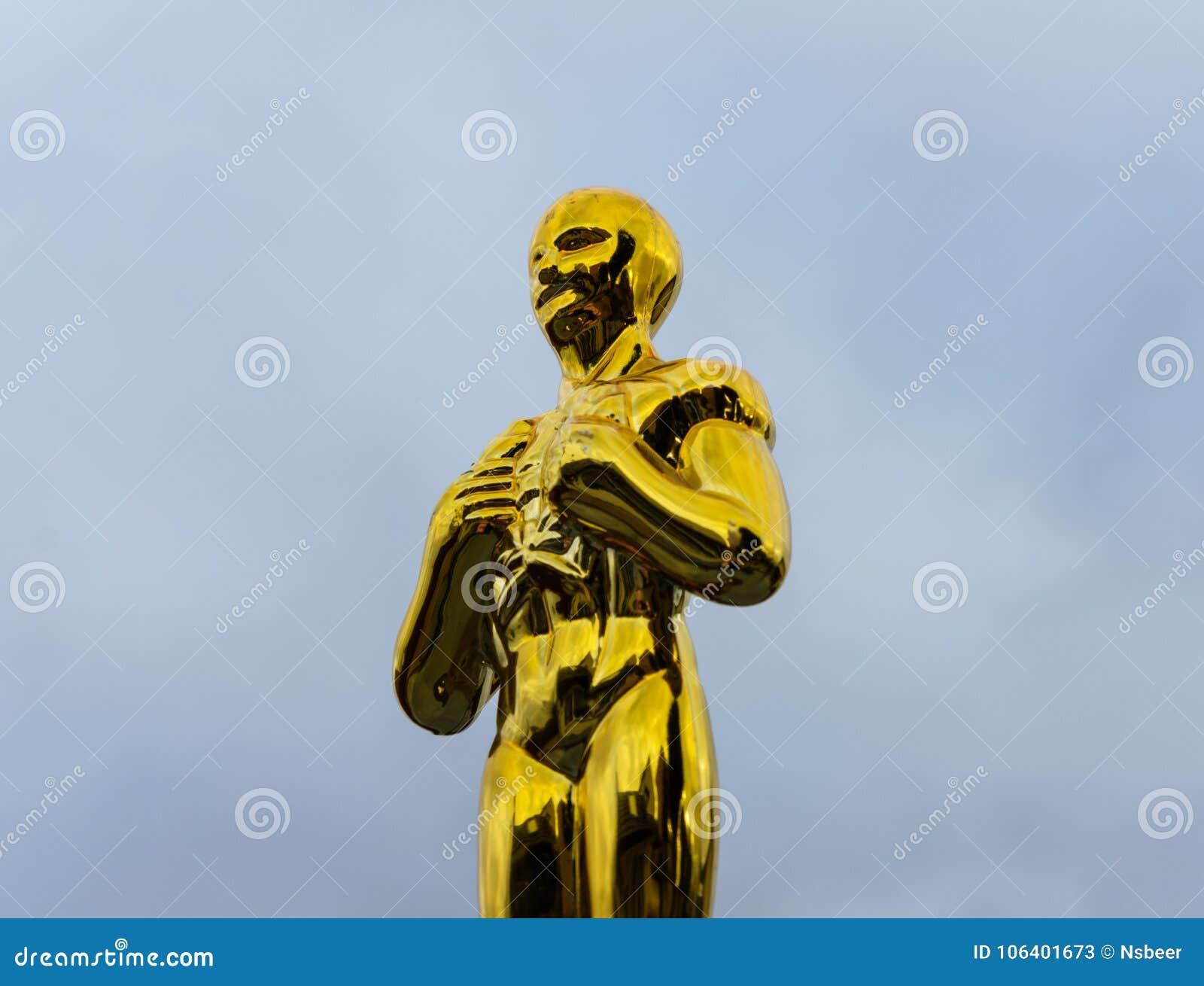 Close-upmening van een het type van Oscar trofee bij de Academietoekenning wordt toegekend, de V.S. die