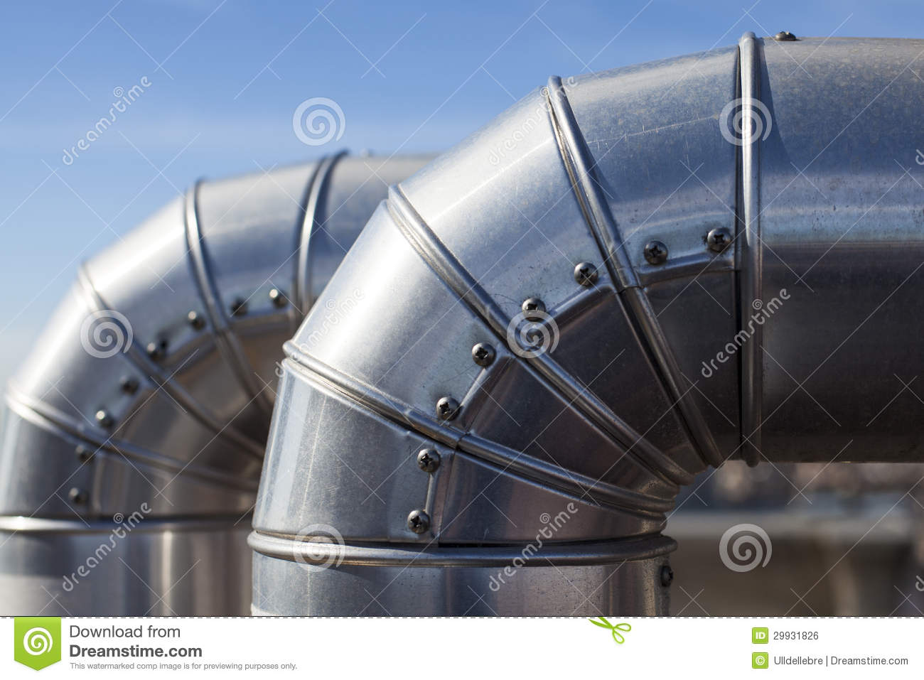 Industrial Ventilation Ducts : Silver ducts royalty free stock image