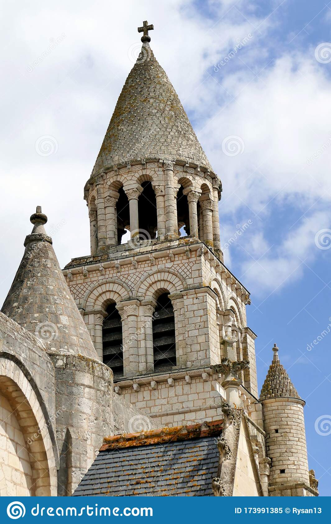 Bell Tower Of The Notre Dame La Grande Church In Poitiers Stock Image Image Of Romanesque Tower 173991385