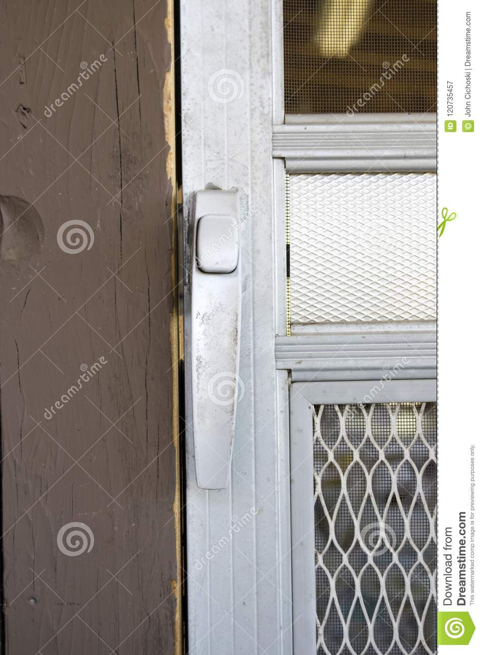 Aluminum Screen Door And Handle Stock Image Image Of Home Screen