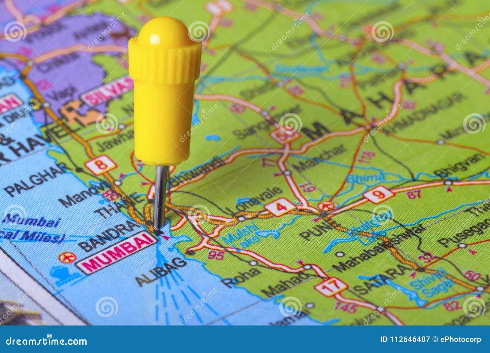 Mumbai On Map Of India.Pushpin Pointing To Mumbai On A Map Of India Stock Image Image Of