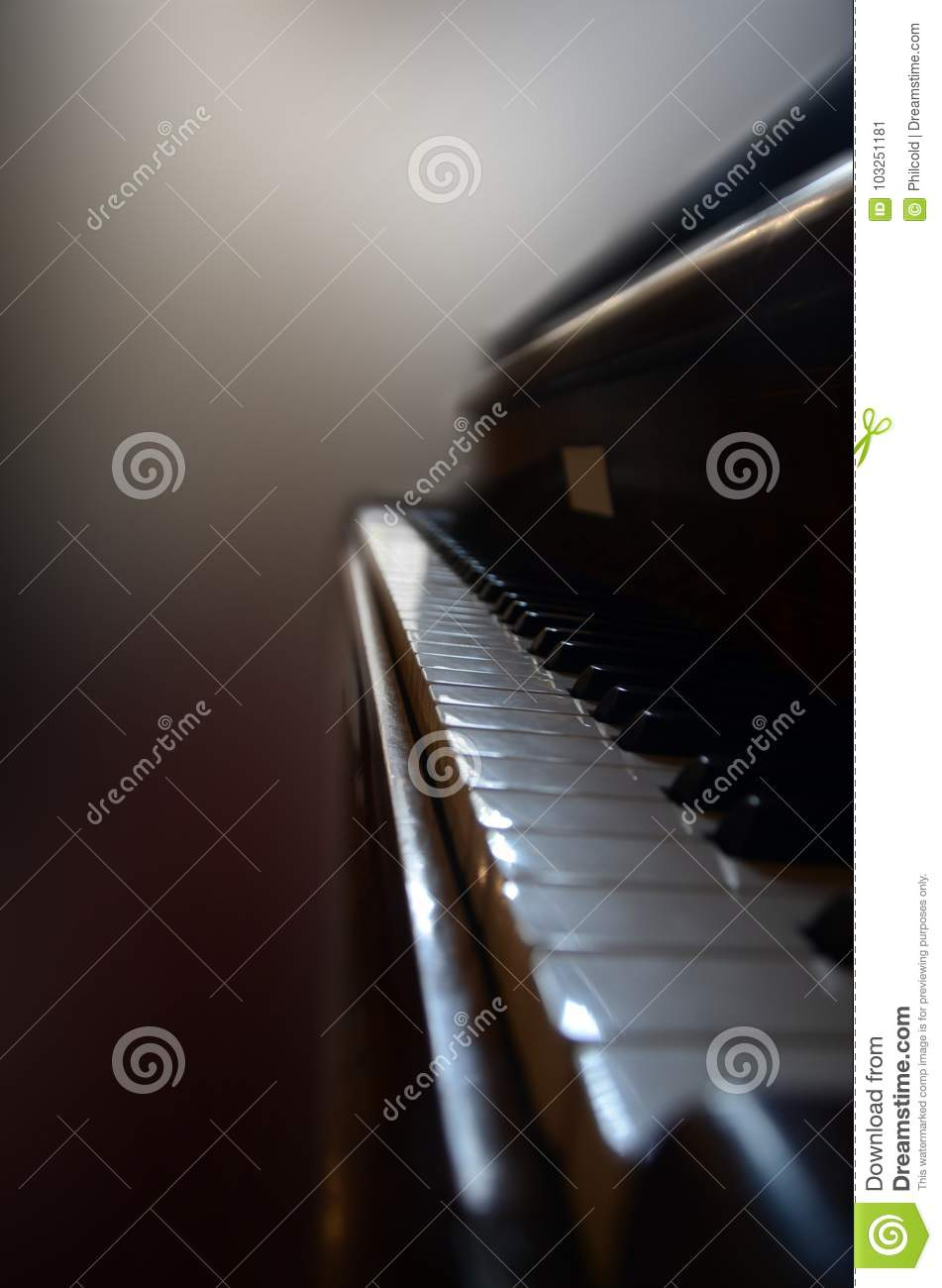 Close view to a vintage piano