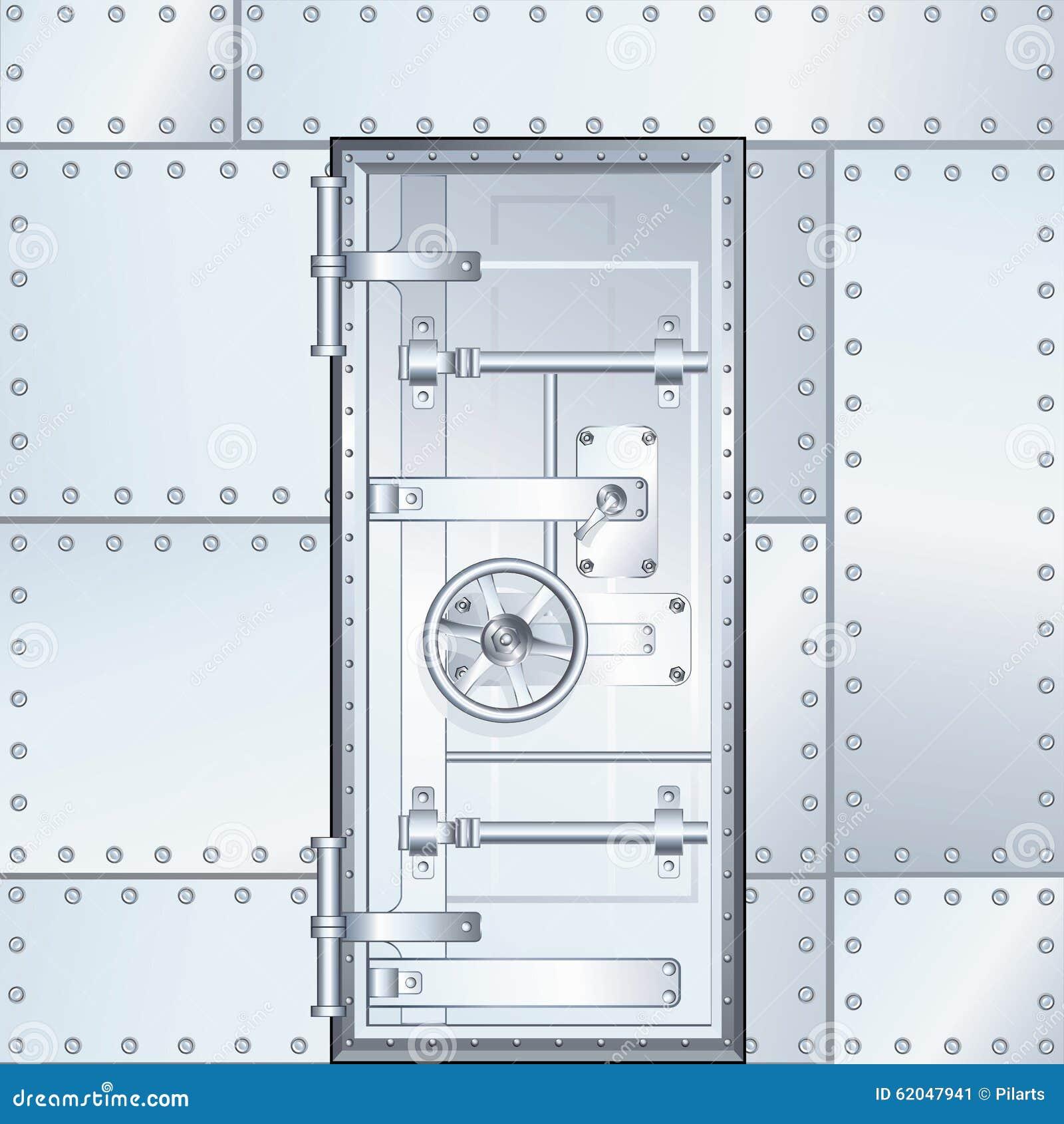 Closed Door Drawing closed bank vault door. vector illustration stock illustration