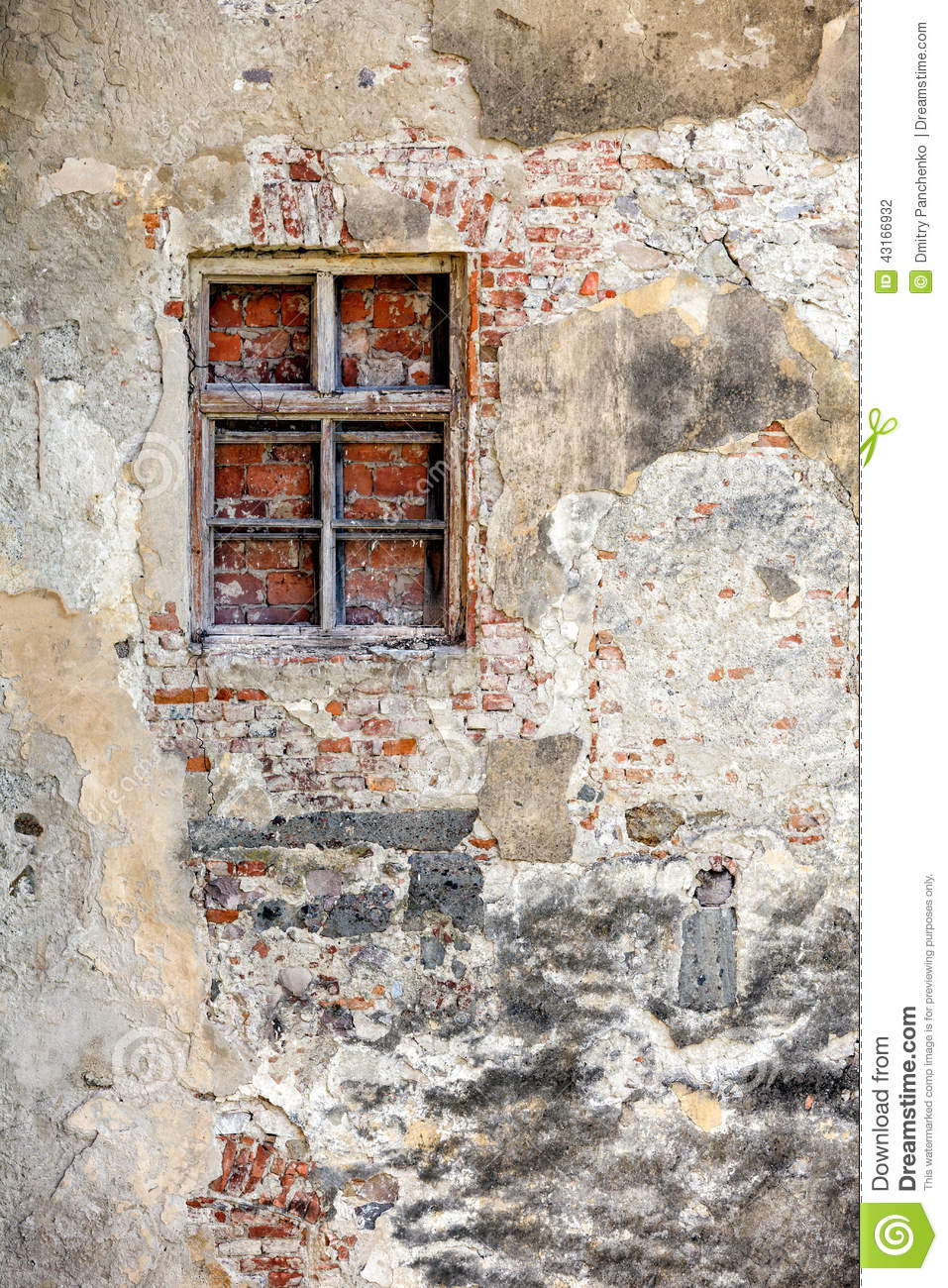 closed blocked window and old wall stock photo image of stucco