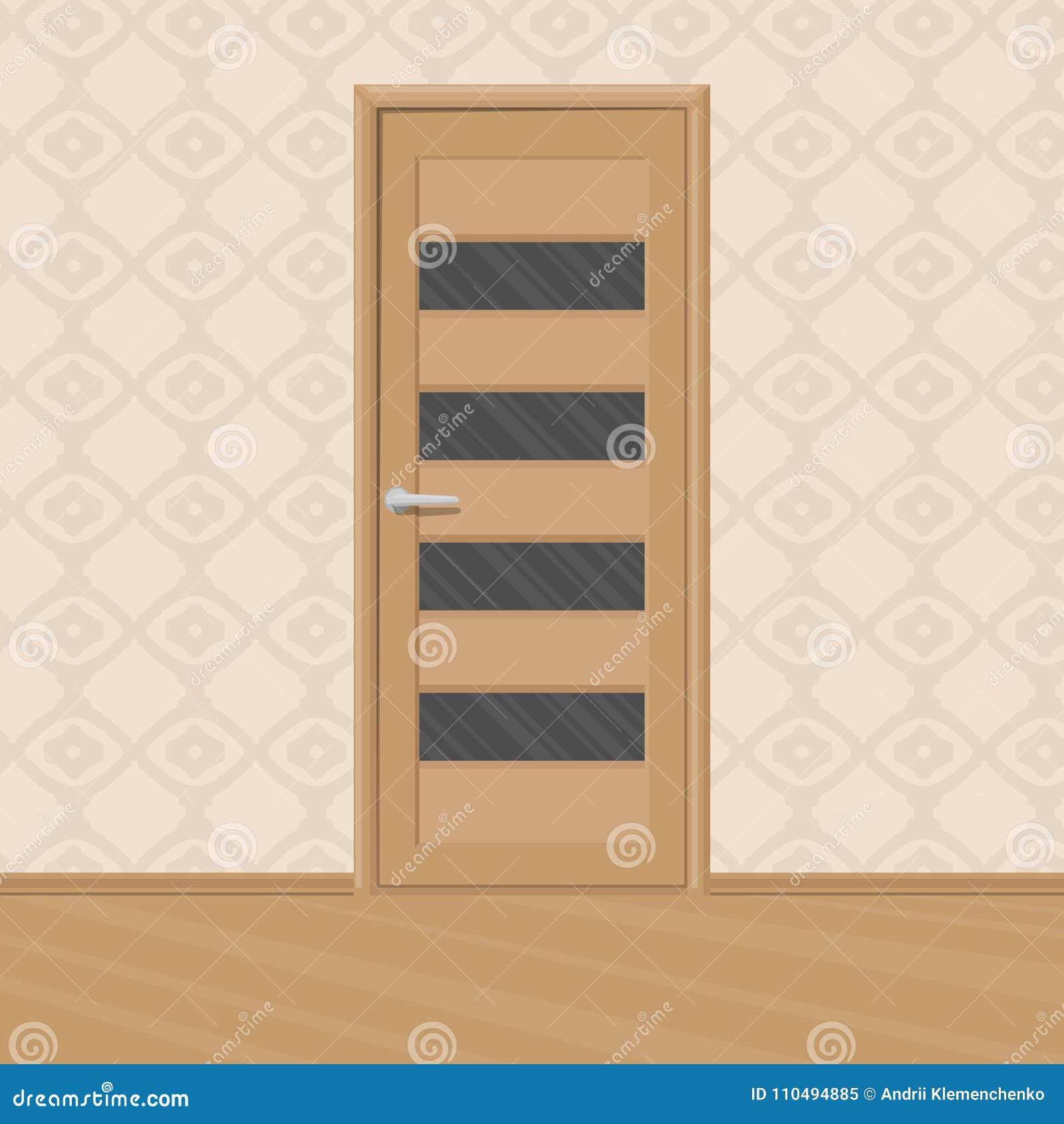 Cartoon Brown Wooden New Door With Doors Glass Frames In A Room