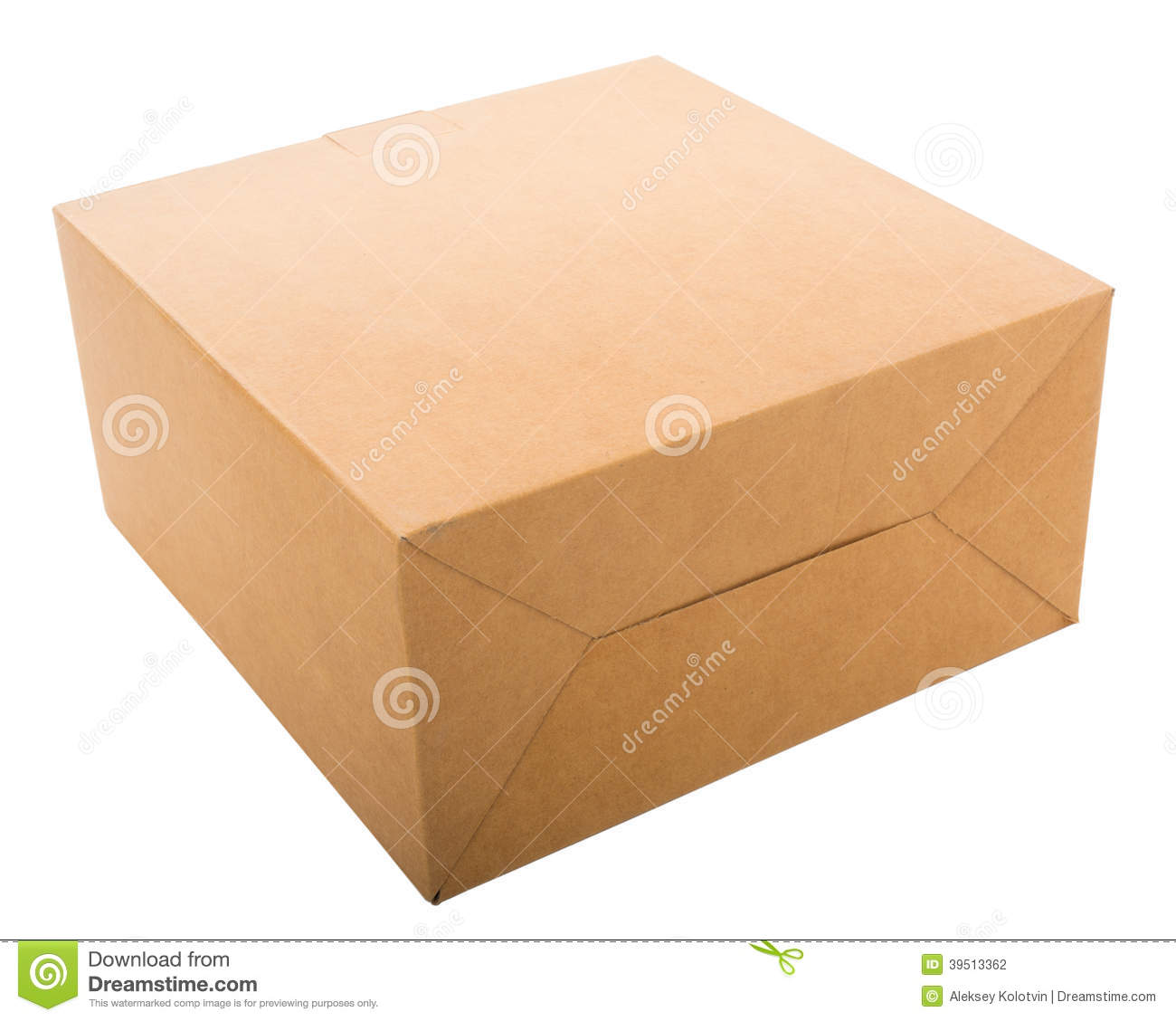 Closed cardboard box isolated on white.