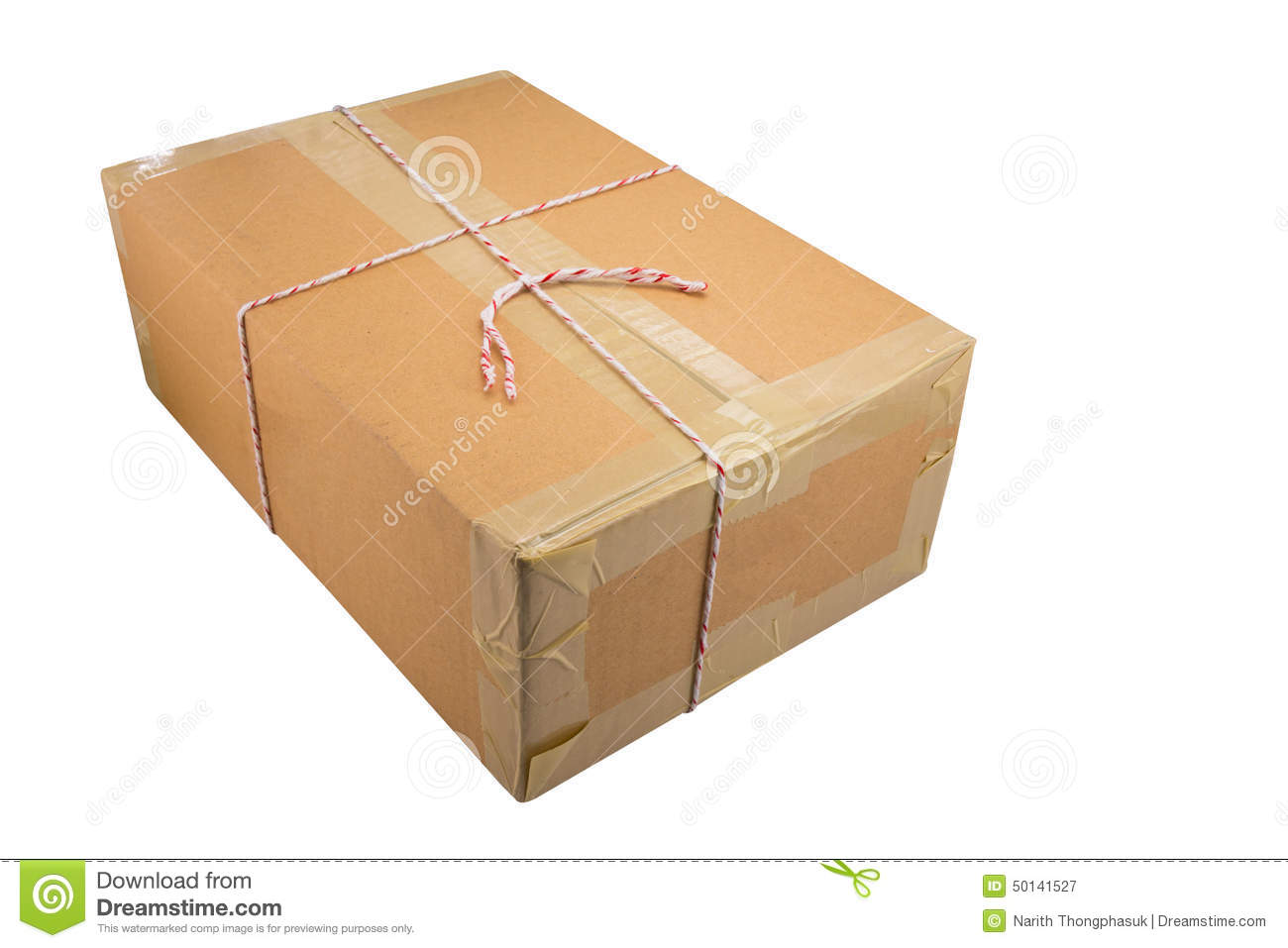 Closed cardboard box taped up and isolated