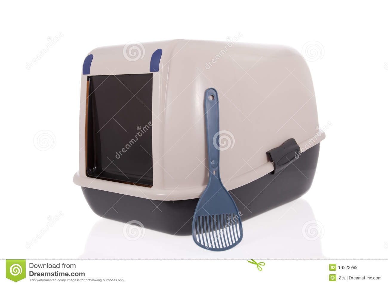 Closed cat litter box with scoop