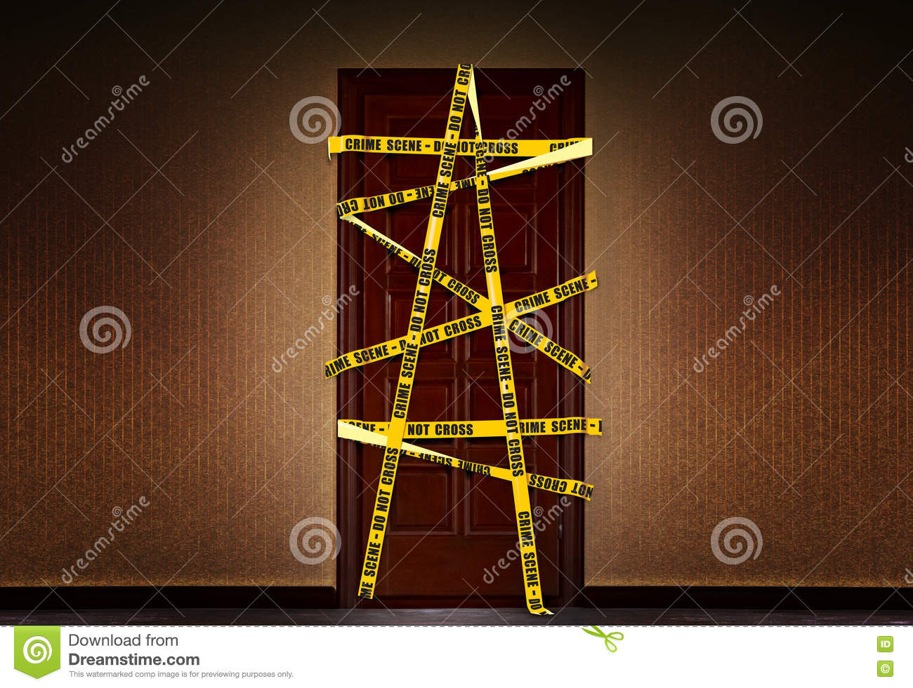 closed dooor with yellow police tape stock image image of boundary