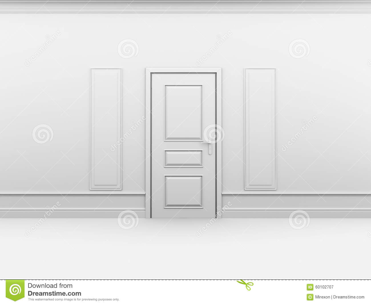Closed Door In Empty Interior With Frame On Wall Stock Illustration ...