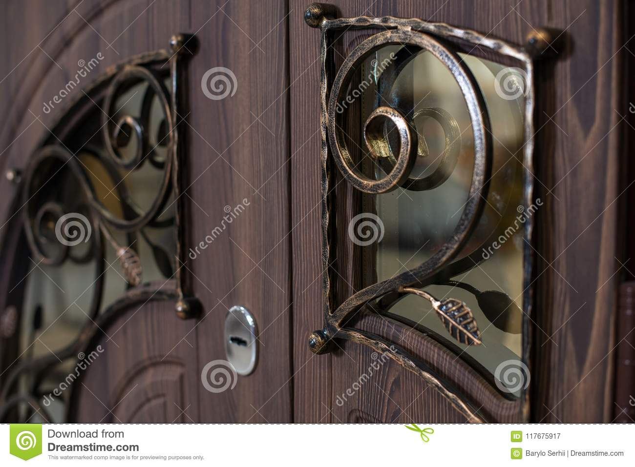 Closed Door Handle Door Lock Dark Brown Wooden Door Closeup