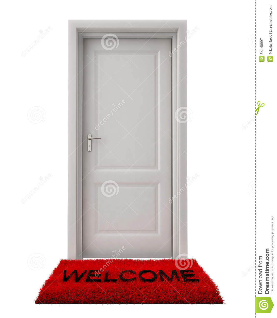 Closed Door With Welcome Mat Isolated On White Background ...