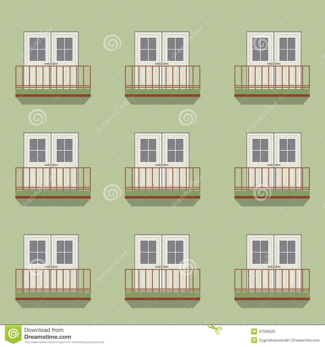 Closed doors with balcony vintage style stock vector for Closed balcony