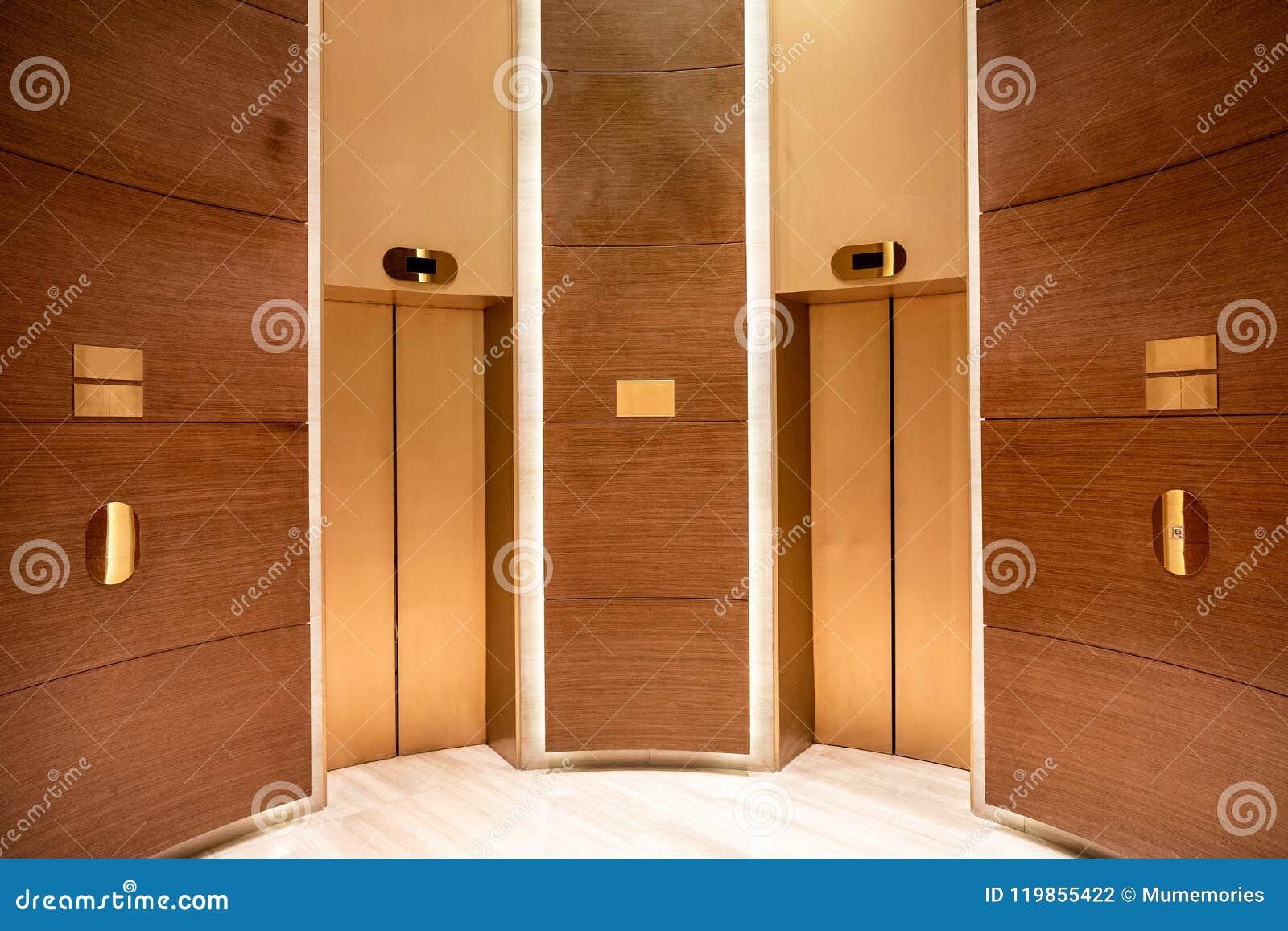 Closed Elevator Doors Contemporary Interior Wooden Curve Stock