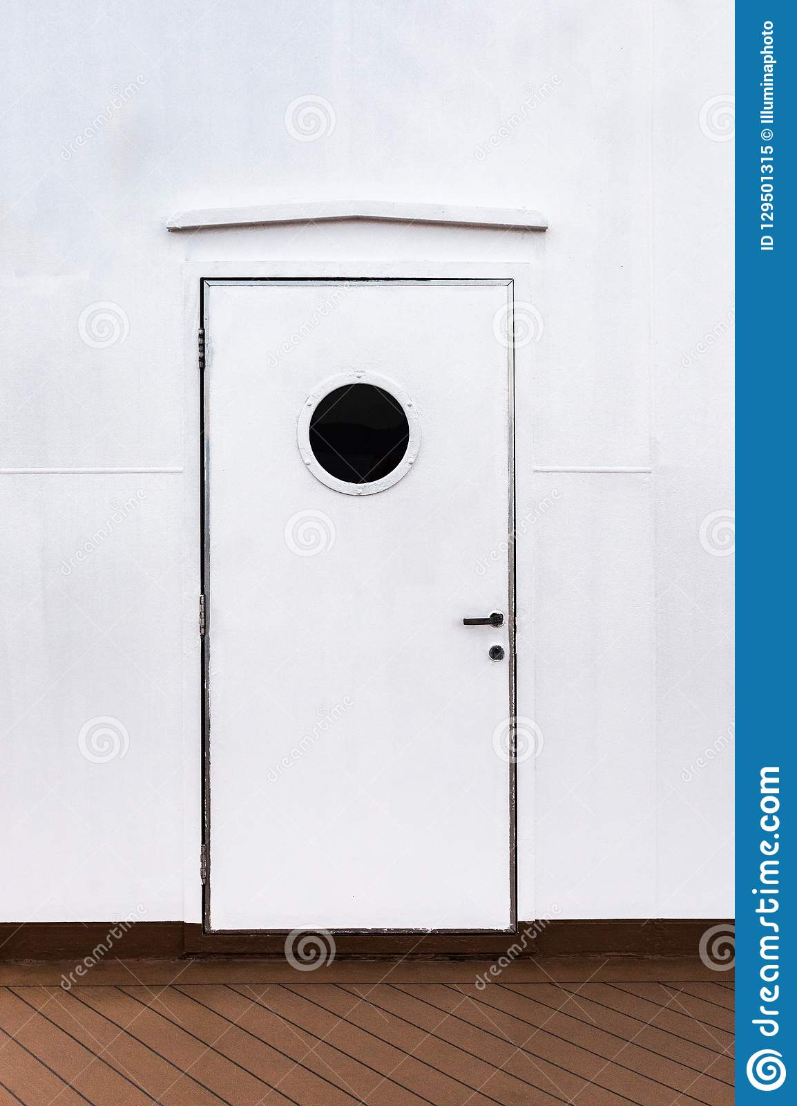 Closed Exterior White Metal Door With Round Window On A
