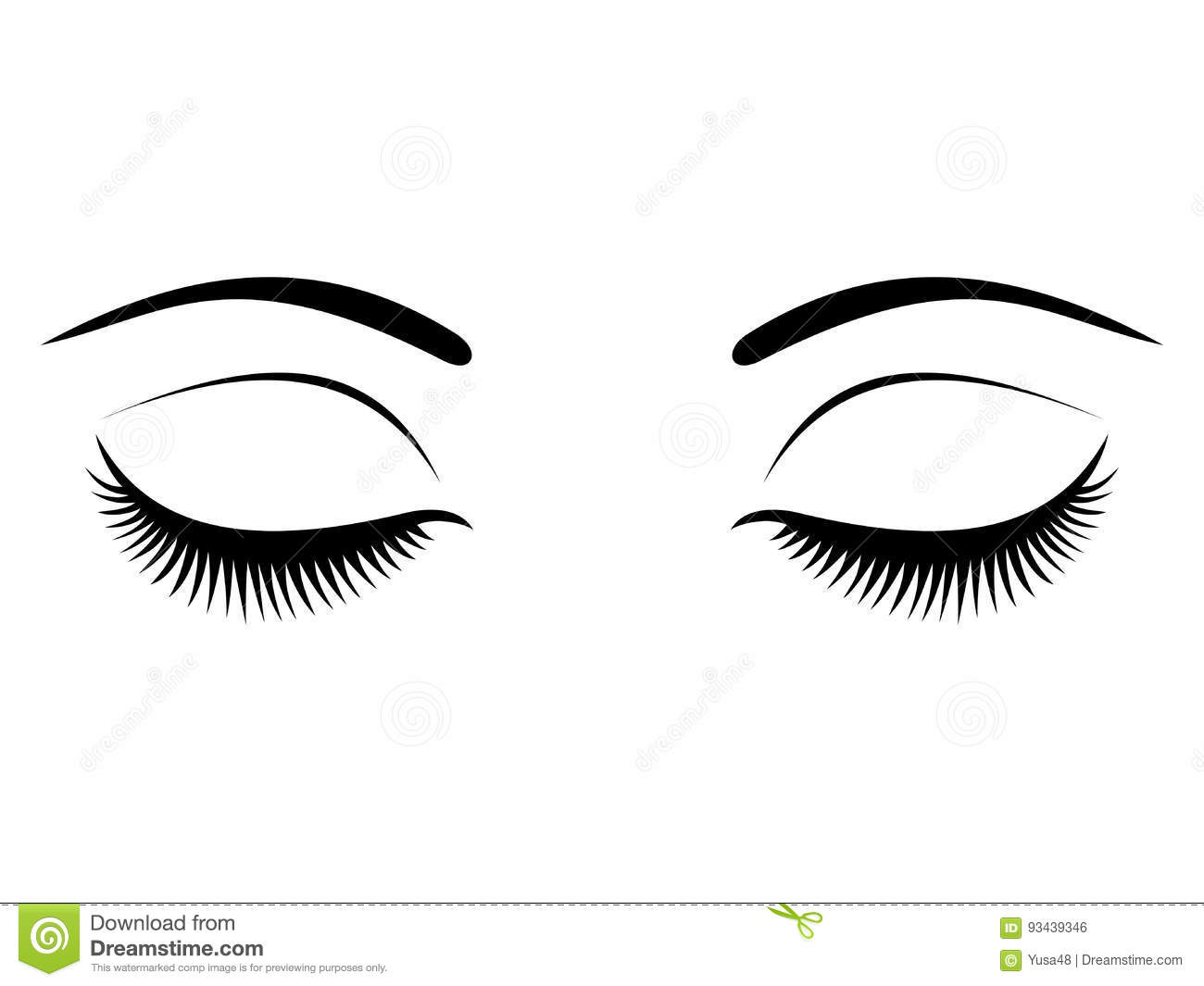ea5f96746f7 Closed eyes with black eyelashes on a white background. Download preview