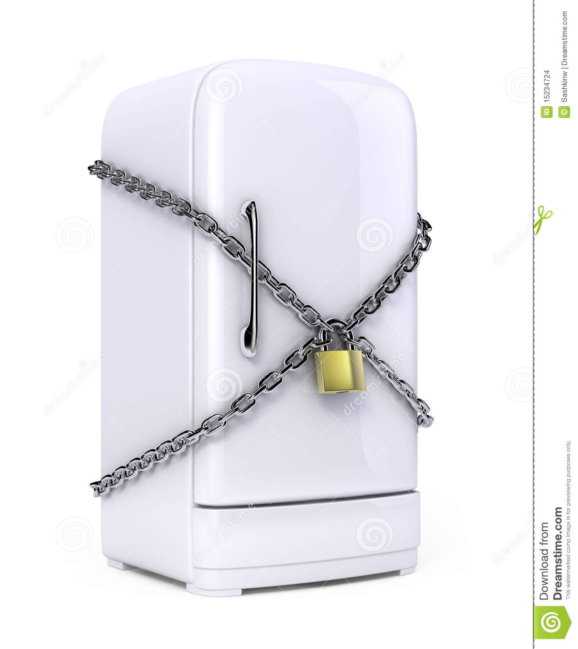 Closed Fridge With Chain And Lock Stock Illustration