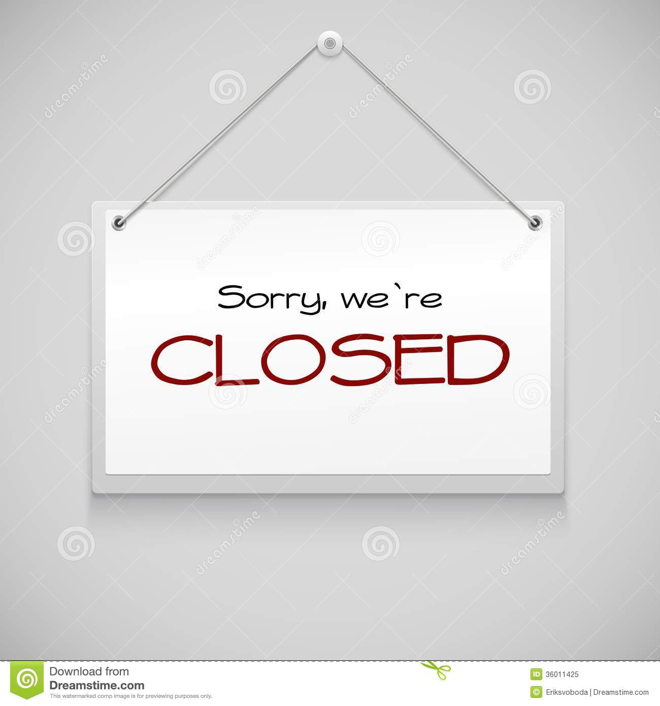Closed Hanging Sign Royalty Free Stock Photo Image 36011425