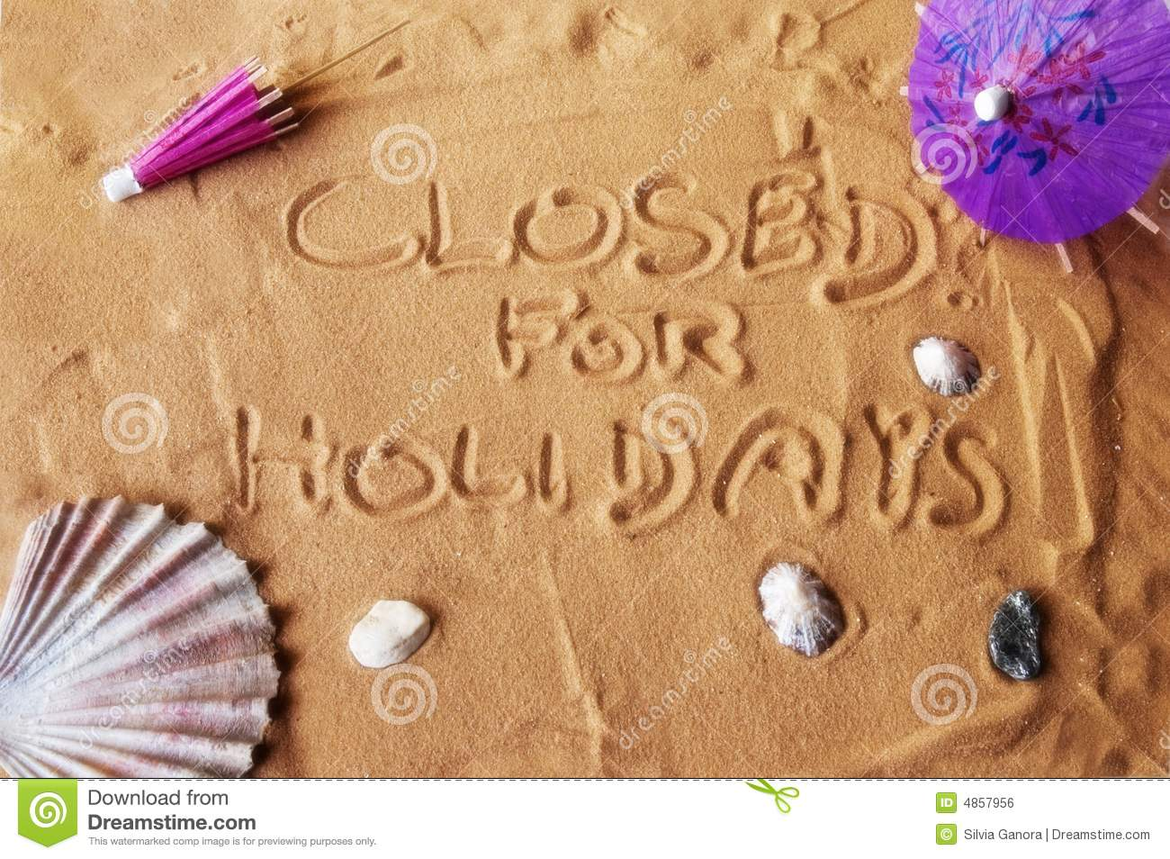 closed for holidays written on sand