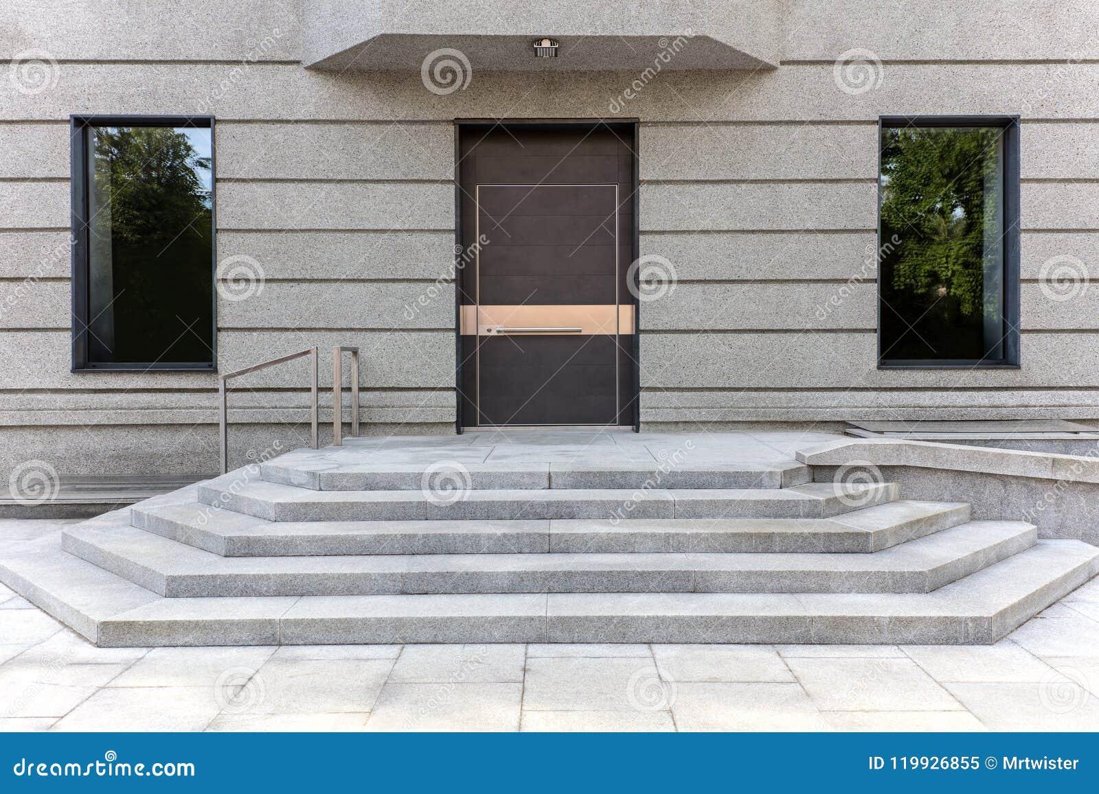 Closed Metal Front Door With Door Steps