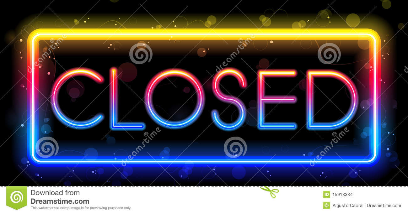 Neon Signs For Sale >> Closed Neon Sign stock vector. Image of glass, night ...