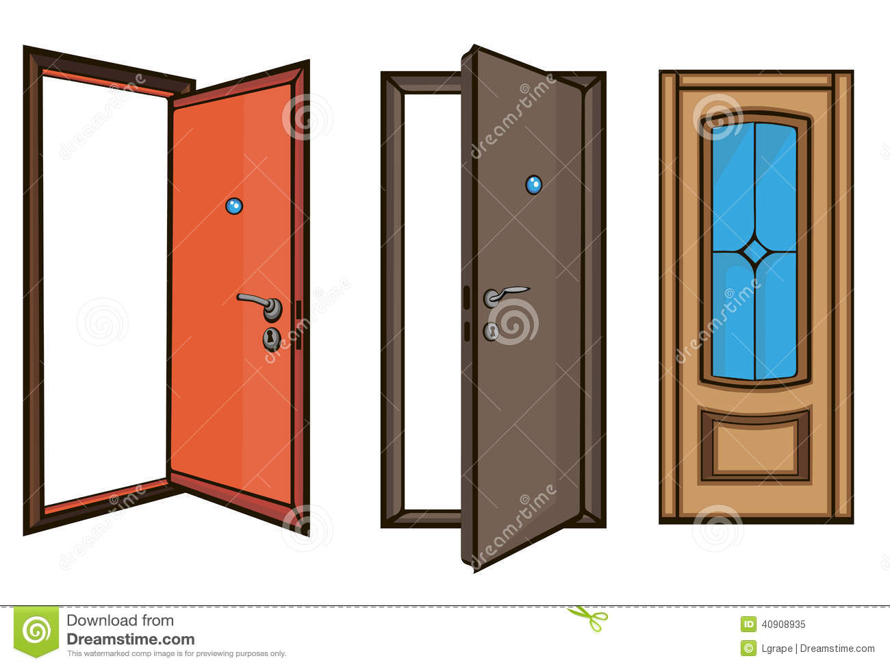 Closed And Open Doors .cartoon Style Stock Vector - Image: 40908935