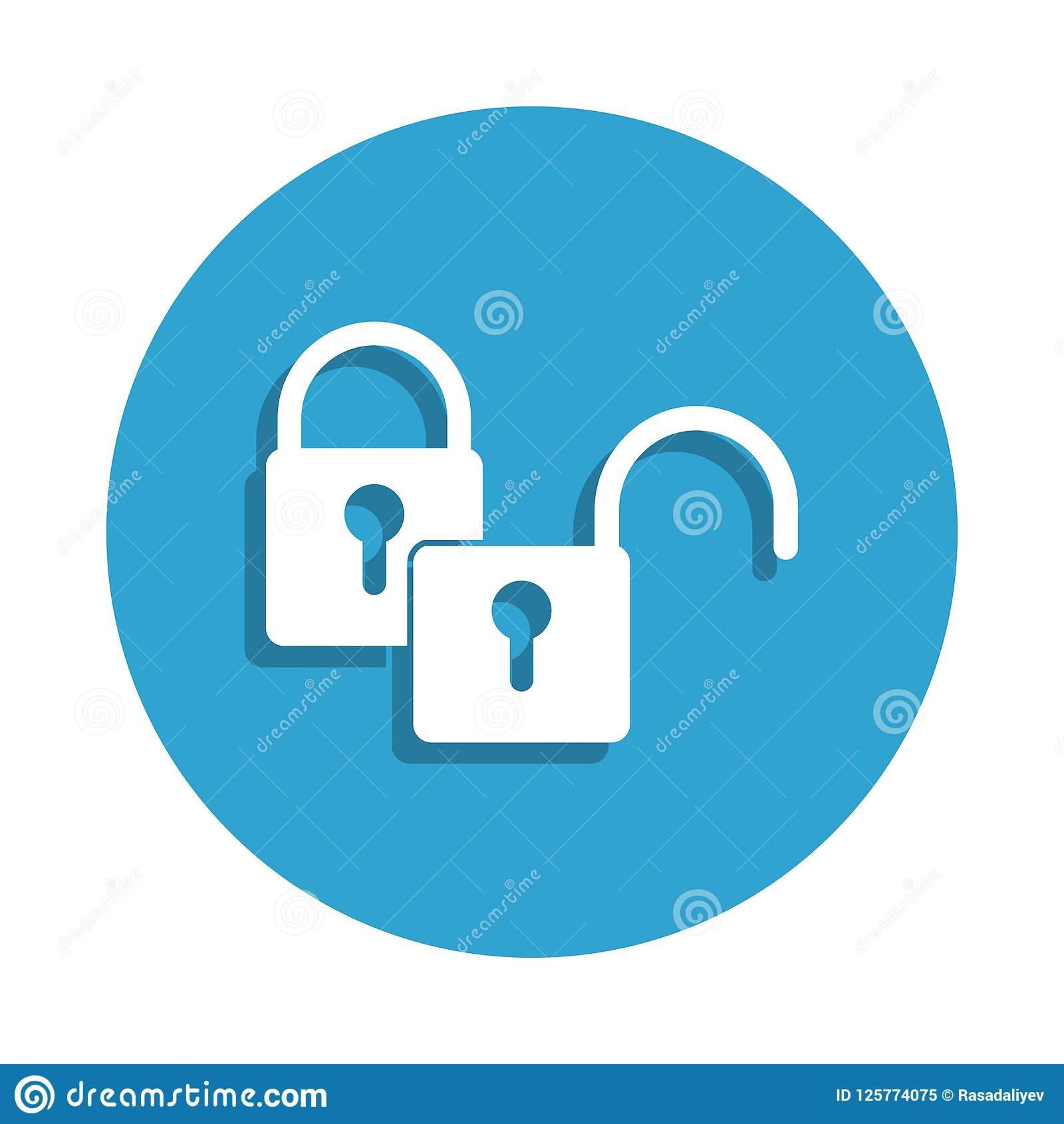 Closed And Open Lock Icon In Badge Style One Of Cyber
