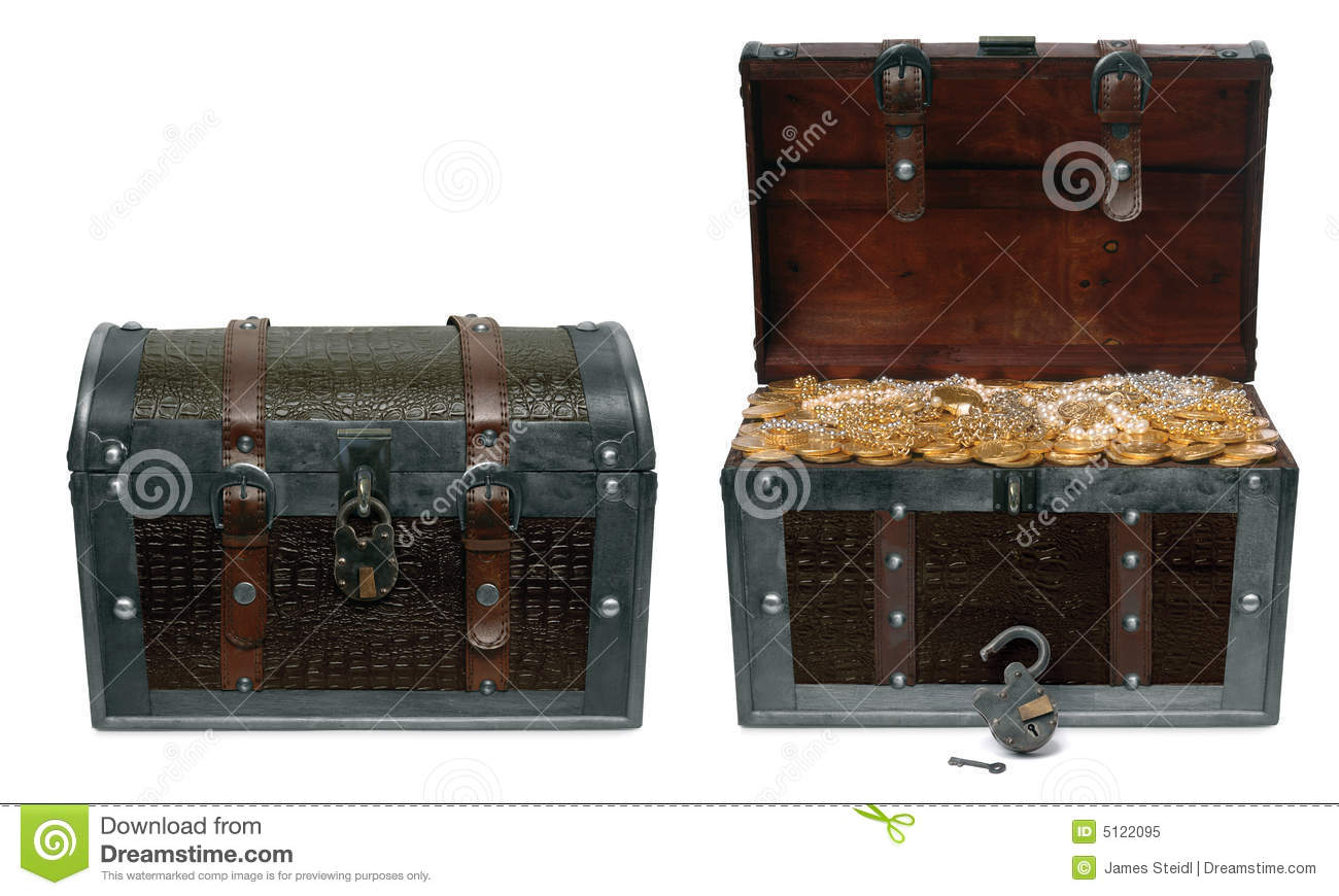 Closed And Open Treasure Chests Royalty Free Stock Photo ...