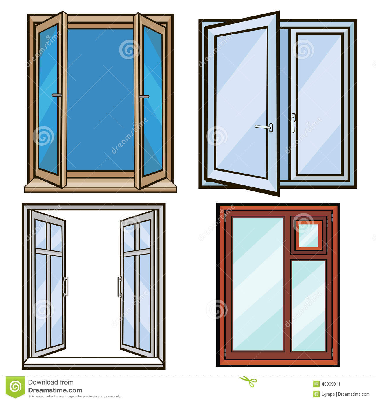 Closed and open windows cartoon style stock vector for Window design cartoon