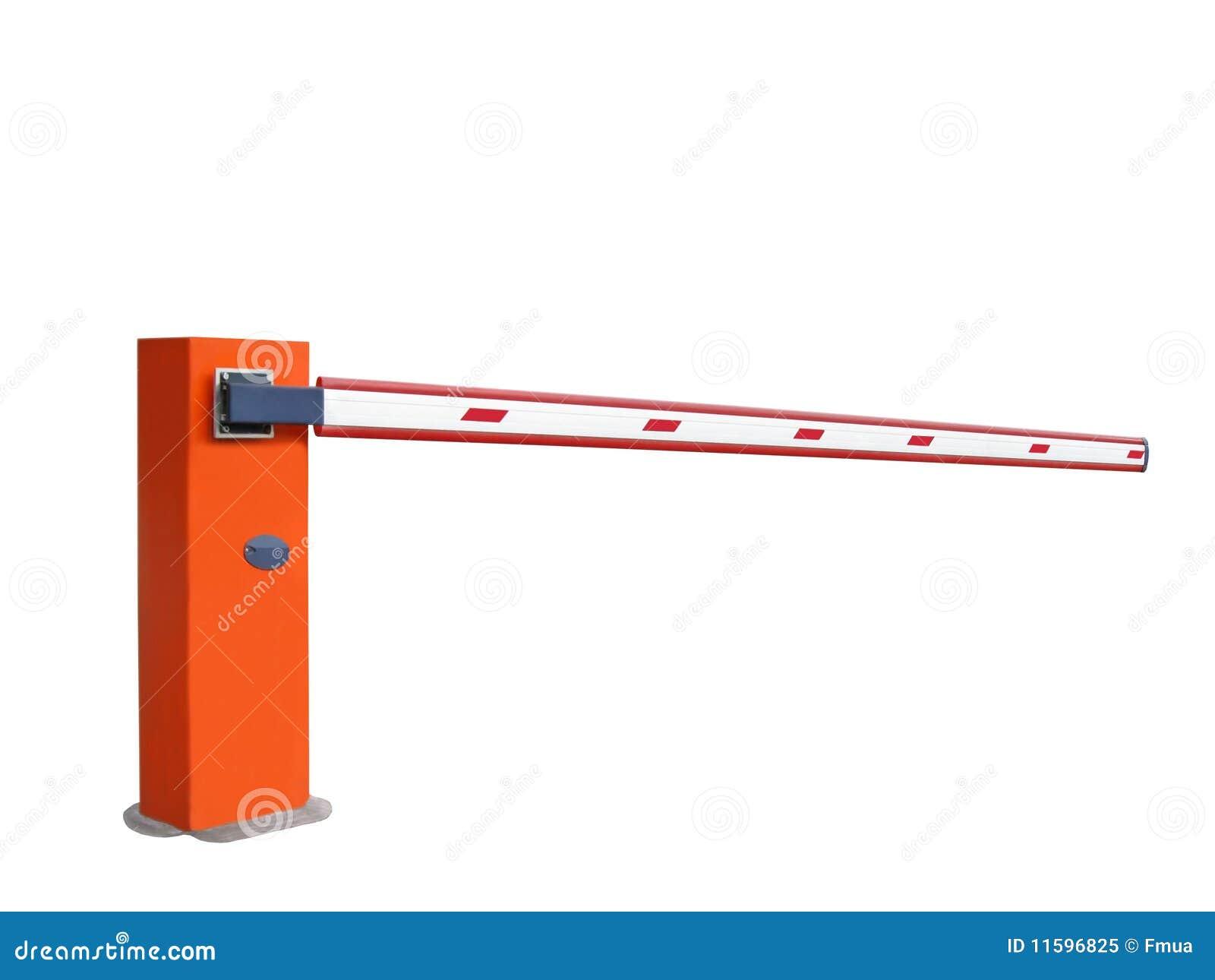 Closed orange entrance barrier nobody stop sign stock