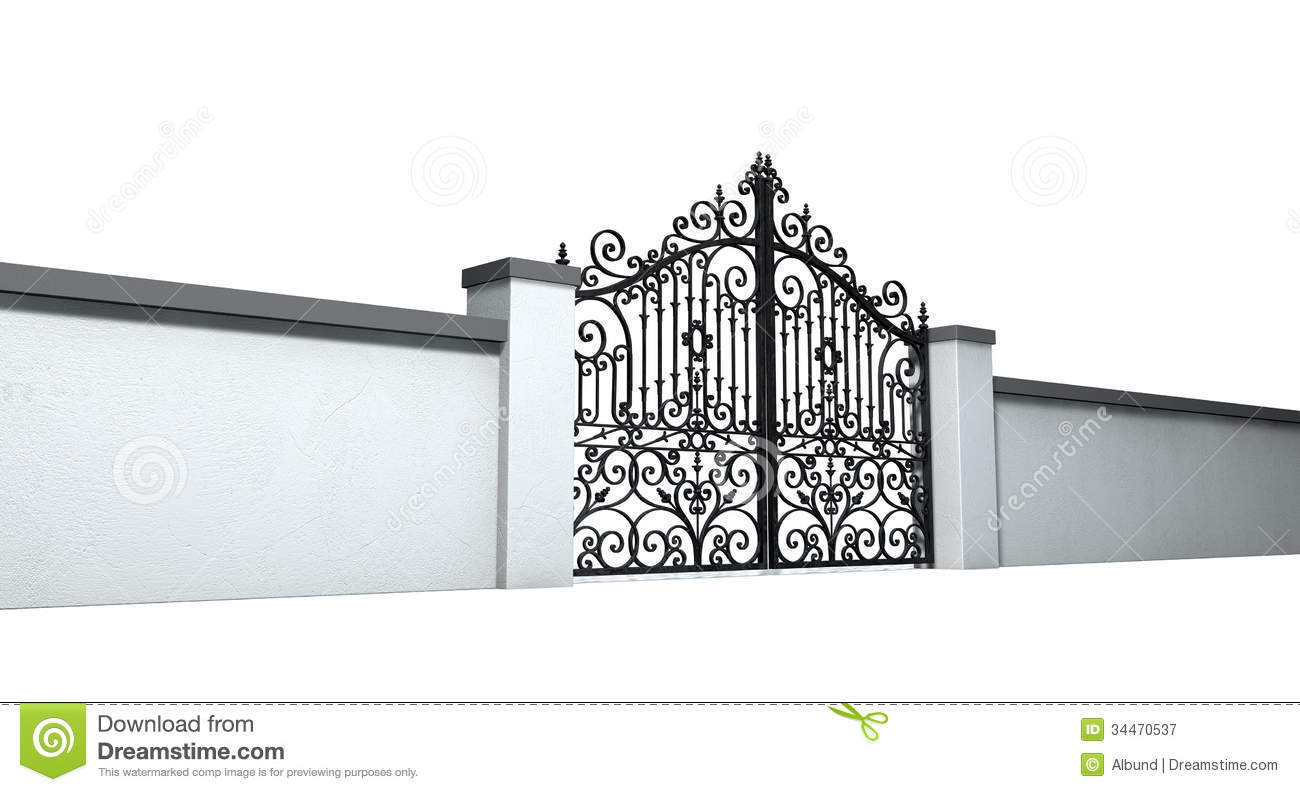Black Gate Wall Decor : Closed ornate gates and wall royalty free stock