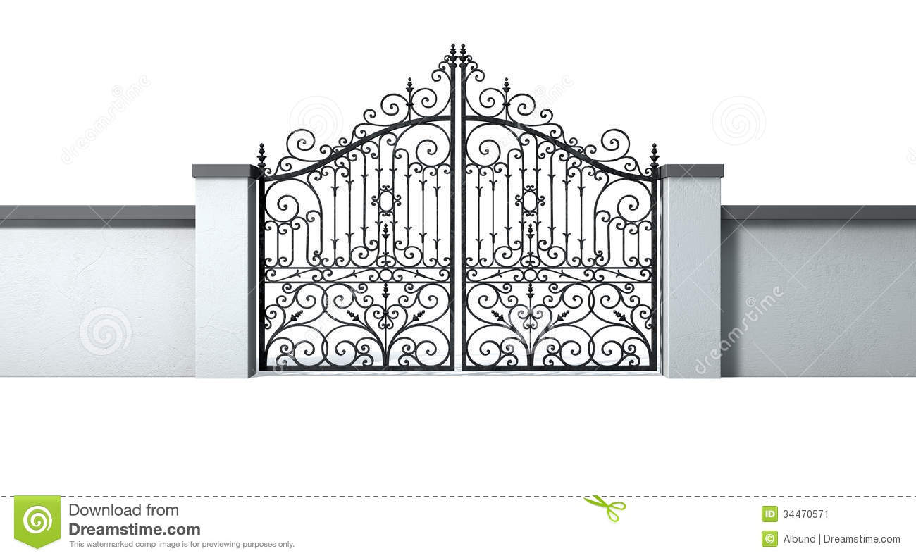 closed ornate gates and wall stock illustration image