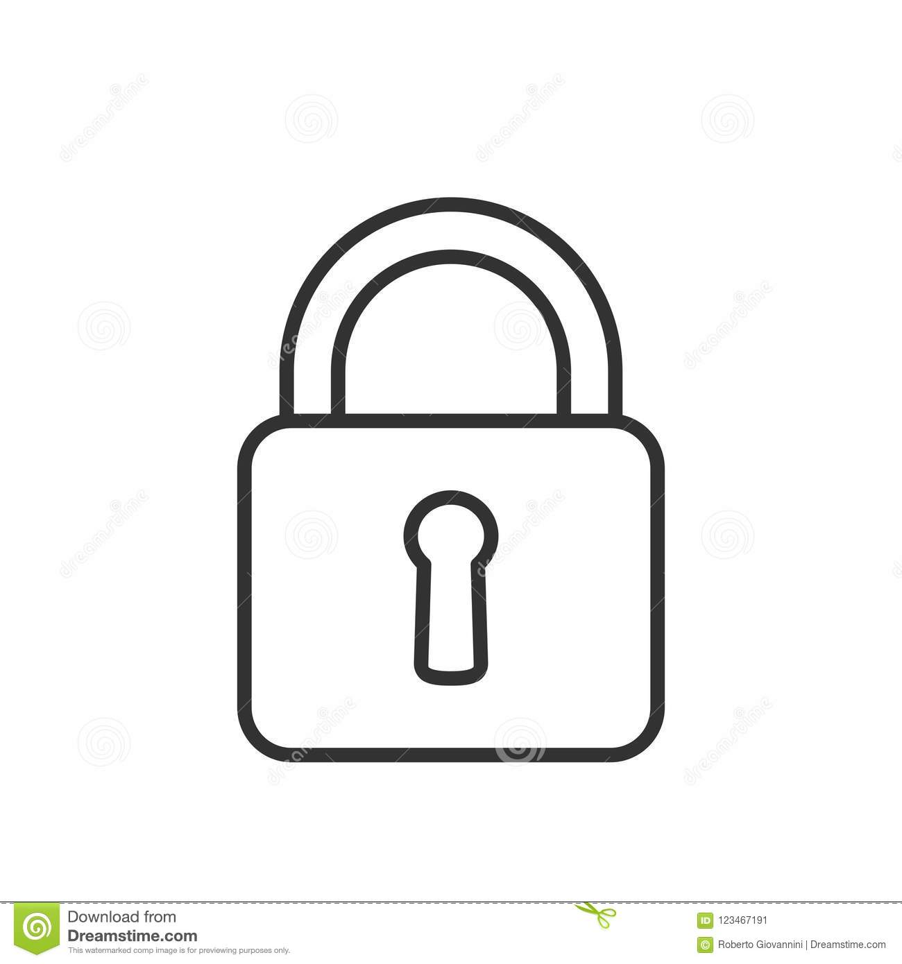 Closed Padlock Outline Flat Icon on White