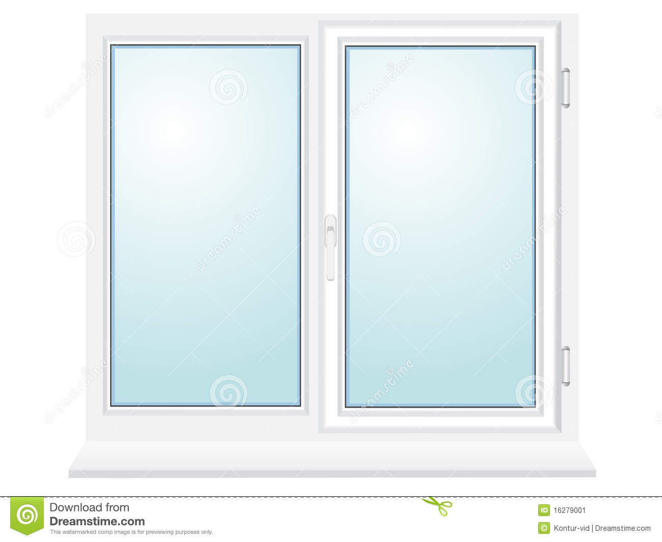 Closed Plastic Glass Window Illustration Stock Vector