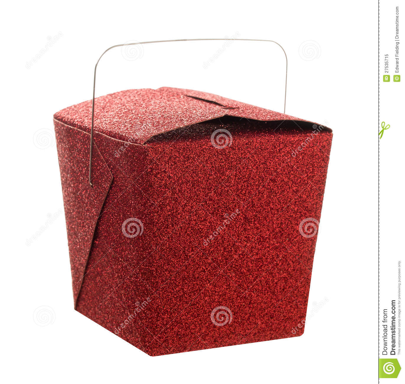 Red Chinese Take Out Favor Boxes : Closed red glitter chinese food take out gift box royalty