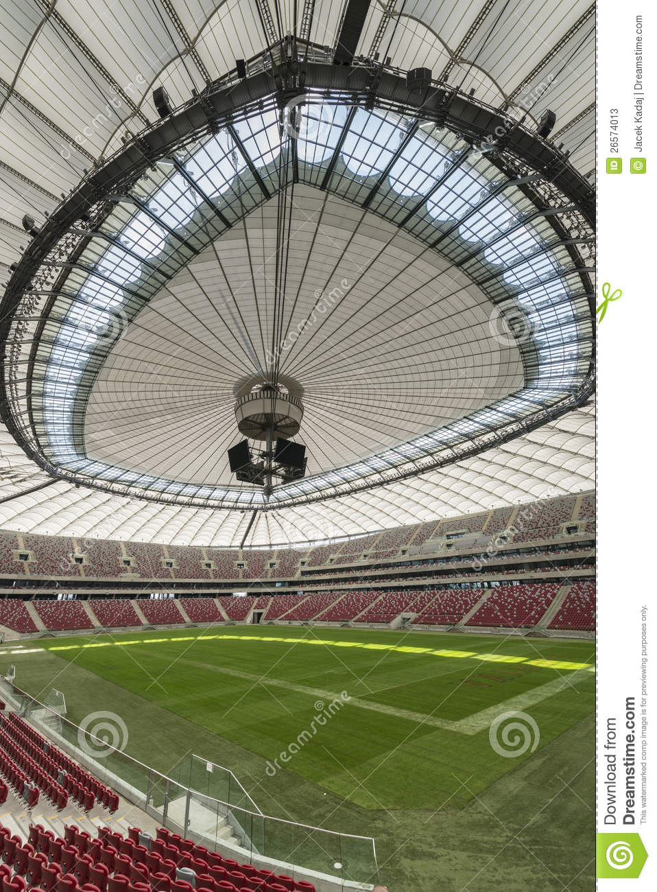 closed roof in warsaw national stadium  poland editorial stock photo