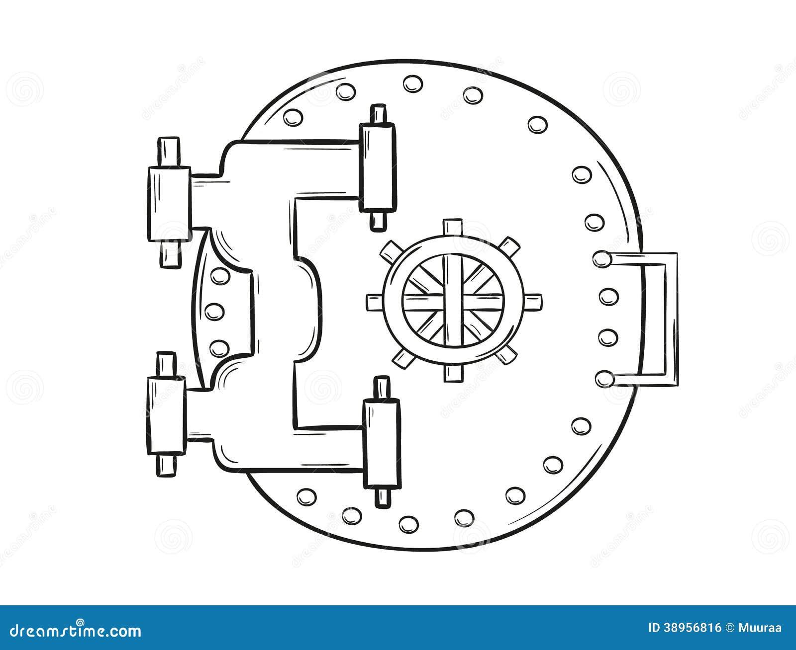 Bank Protection Drawing : Closed safe door stock vector image of drawn bank lock