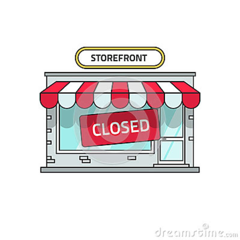 Closed Shop Building Vector Store Font View With Close