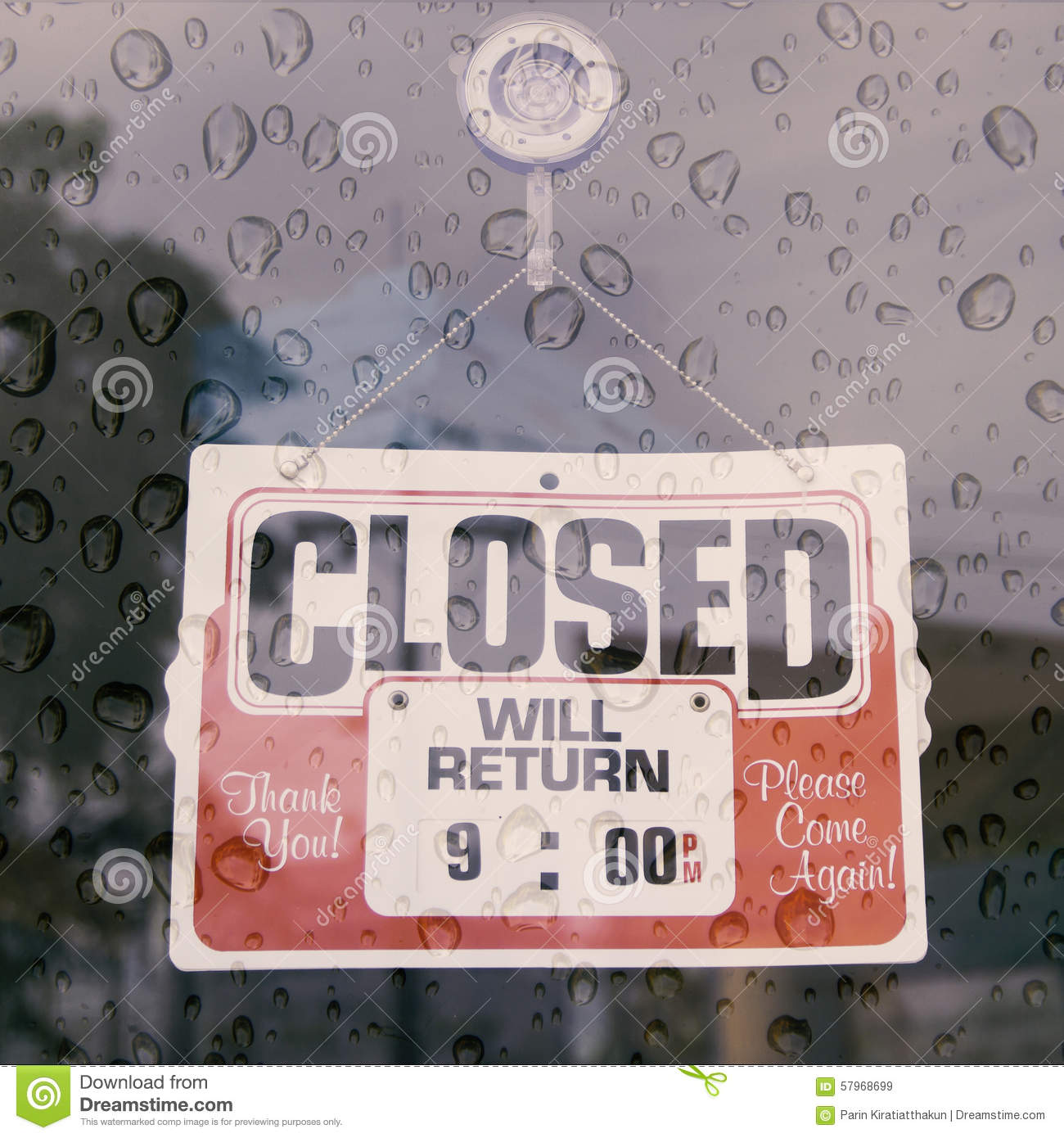 Closed Sign Board Hang On The Door Stock Image - Image ...