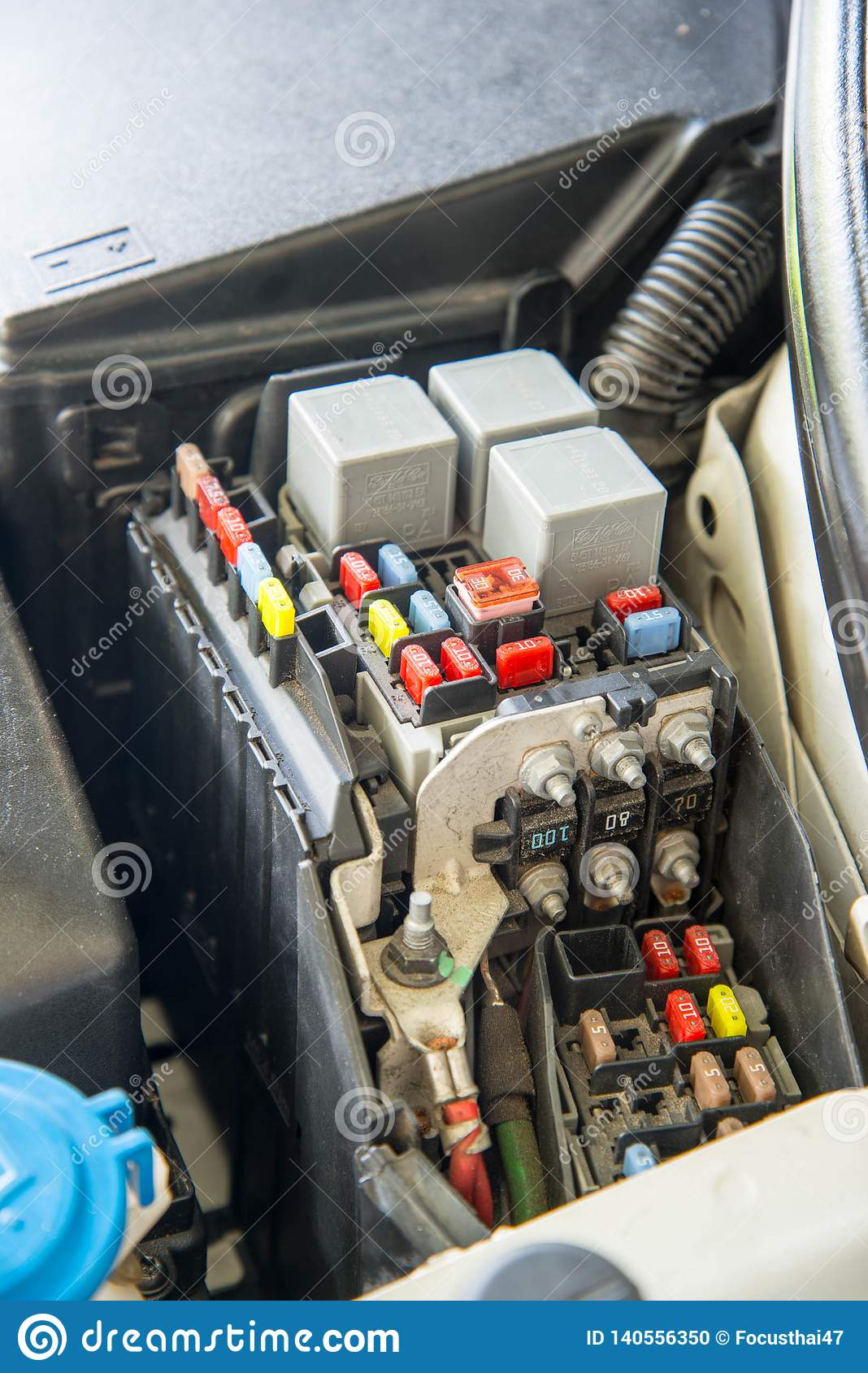 Closed Up Car Fuse Box  Mini Fuses And Relays Editorial Image