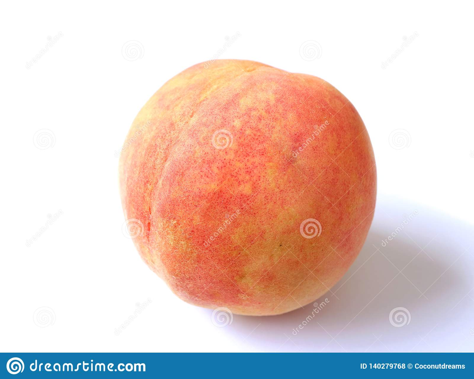 Closed Up a Fresh Ripe Peach Isolated on White Background