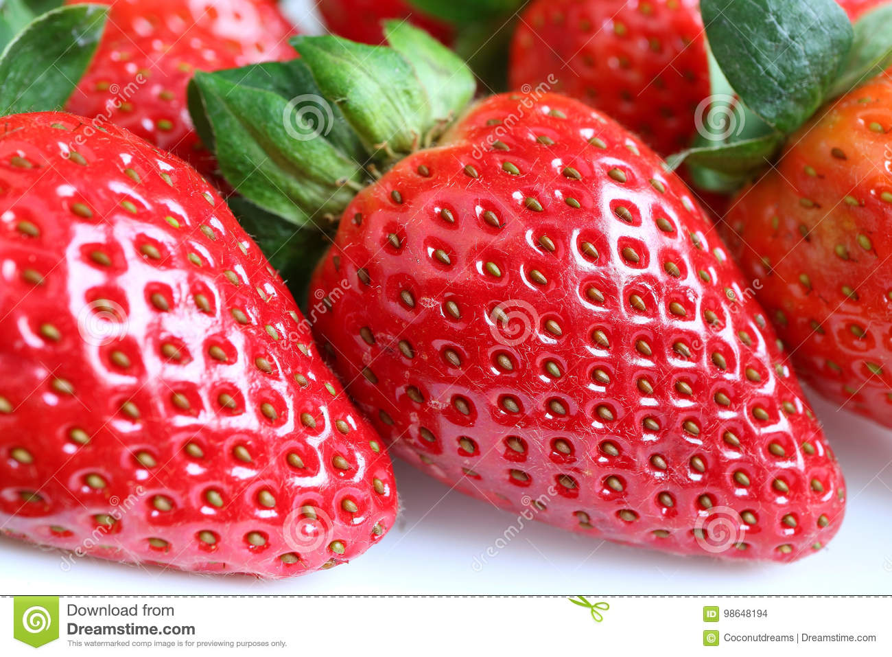 Closed Up Vibrant Red Color Fresh Ripe Strawberry Fruits ...