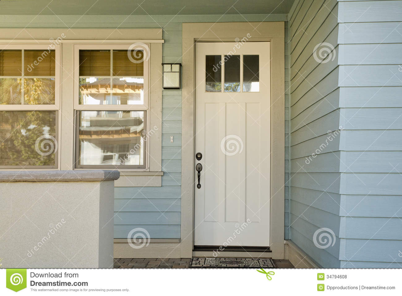 Closed White Door Of A Home Stock Photo Image Of Light Feature