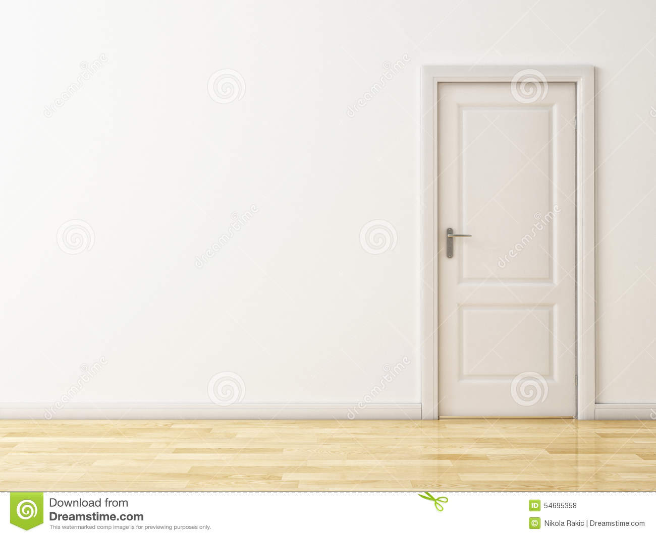 closed white door on white wall, wooden reflective floor stock