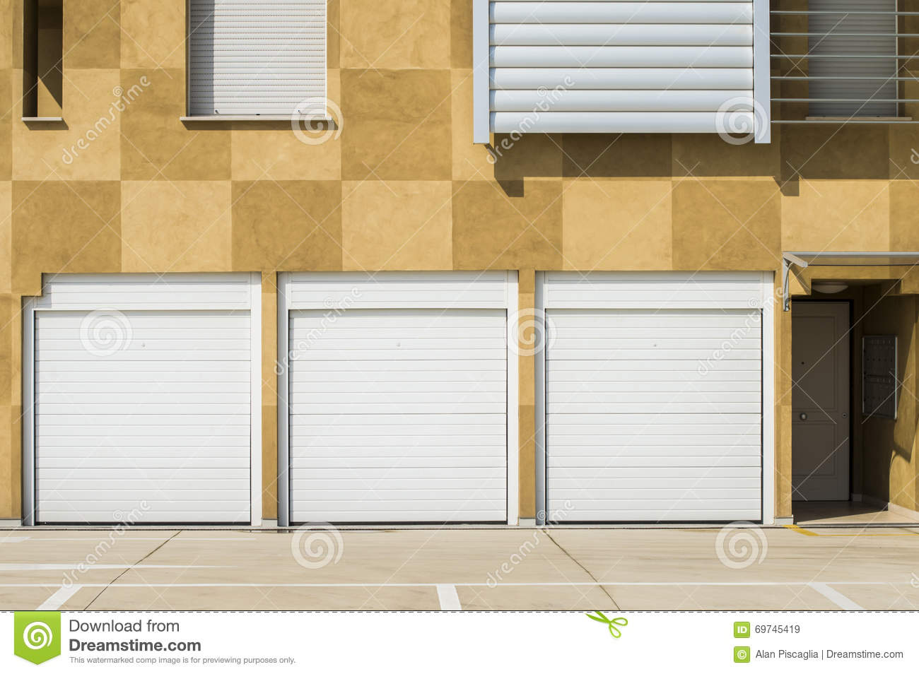 Closed White Garage Doors Stock Image Image Of Living 69745419